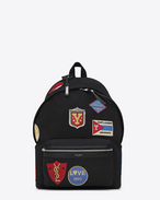 SAINT LAURENT Backpack U CITY Backpack with Patches in Black Twill and Leather f