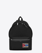SAINT LAURENT Backpack U Zaino CITY con tasca con patch nero in twill e pelle f