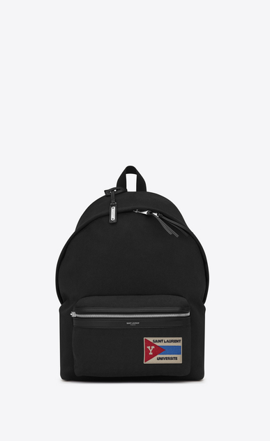 SAINT LAURENT Backpack Man CITY Backpack with Pocket Patch in Black Twill and Leather a_V4