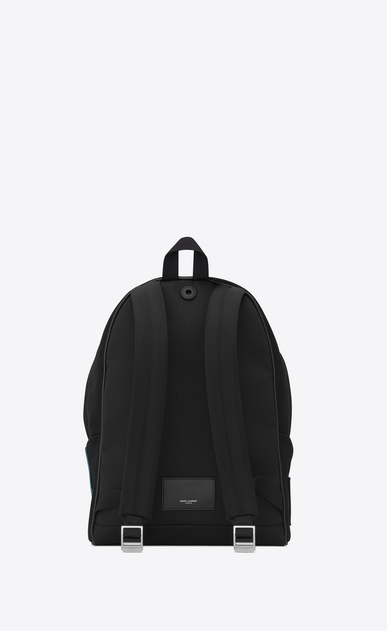 SAINT LAURENT Backpack Man CITY Backpack with Pocket Patch in Black Twill and Leather b_V4