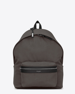SAINT LAURENT Giant Backpacks U GIANT CITY Backpack with Earth Grey Nylon Canvas and Black Leather f
