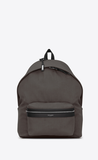 SAINT LAURENT Giant Backpacks Man GIANT CITY Backpack with Earth Grey Nylon Canvas and Black Leather a_V4
