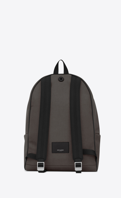 SAINT LAURENT Giant Backpacks Man GIANT CITY Backpack with Earth Grey Nylon Canvas and Black Leather b_V4