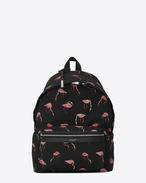 SAINT LAURENT Backpack U CITY Backpack in Black and Pink Flamingo Printed Nylon Canvas and Black Leather f