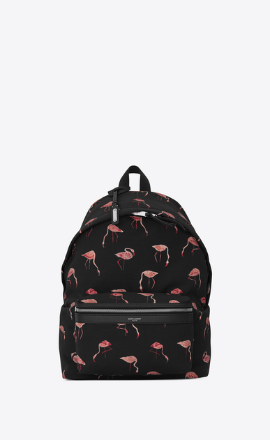 SAINT LAURENT Backpack U CITY Backpack in Black and Pink Flamingo Printed Nylon Canvas and Black Leather v4