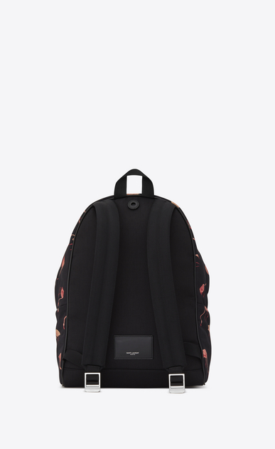 SAINT LAURENT Backpack U CITY Backpack in Black and Pink Flamingo Printed Nylon Canvas and Black Leather b_V4