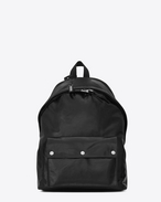 SAINT LAURENT Backpack U CITY Military Backpack in Black Moroder Leather and Nylon f