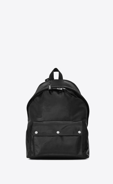 SAINT LAURENT Backpack Man CITY Military Backpack in Black Moroder Leather and Nylon a_V4