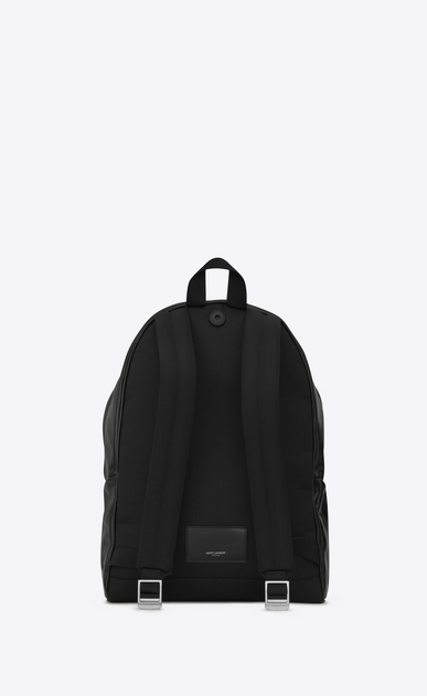 SAINT LAURENT Backpack U CITY Military Backpack in Black Moroder Leather and Nylon b_V4