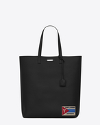 SAINT LAURENT Totes U BOLD Tote Bag with Patch in Black Leather f