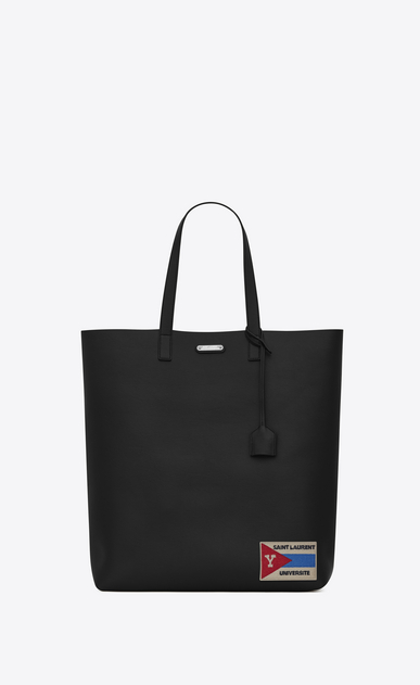 SAINT LAURENT Totes U BOLD Tote Bag with Patch in Black Leather a_V4