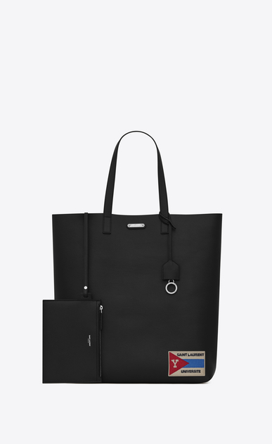 SAINT LAURENT Tote Bag U Bold Totebag aus schwarzem Leder mit Patch b_V4