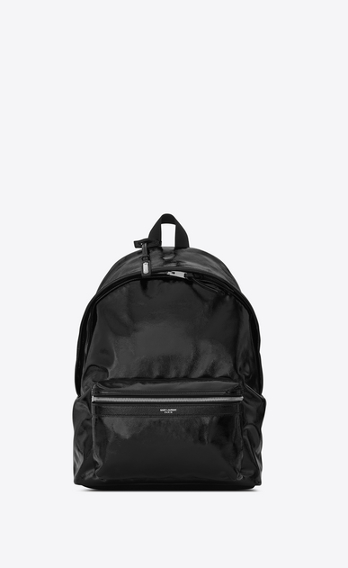 SAINT LAURENT Backpack Man CITY Backpack in Black Patent Leather a_V4