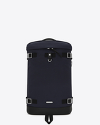 SAINT LAURENT Buckle Backpacks U RIVINGTON Race Backpack in Navy Blue nylon canvas and Black Leather f