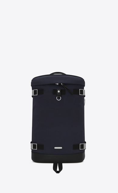 SAINT LAURENT Buckle Backpacks Man RIVINGTON Race Backpack in Navy Blue nylon canvas and Black Leather a_V4