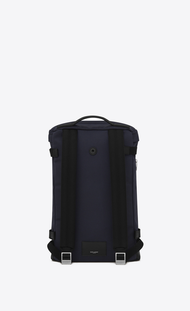 SAINT LAURENT Buckle Backpacks Man RIVINGTON Race Backpack in Navy Blue nylon canvas and Black Leather b_V4