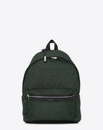 SAINT LAURENT Backpack U CITY Backpack in Dark Green Nylon Canvas and Black Leather f