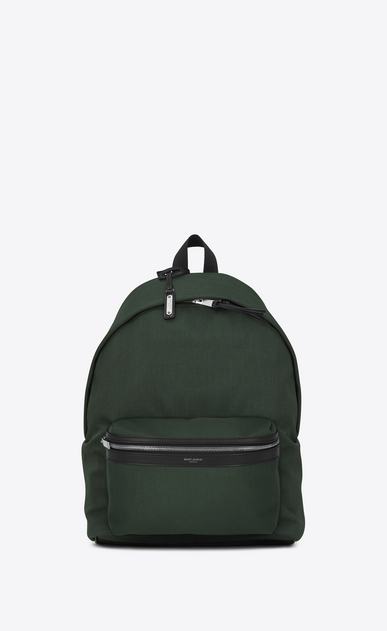 SAINT LAURENT Backpack Man CITY Backpack in Dark Green Nylon Canvas and Black Leather a_V4
