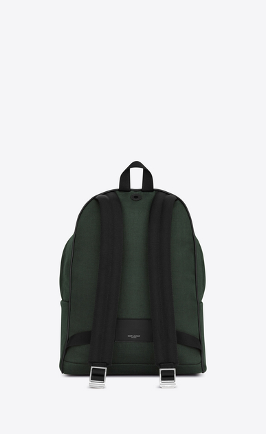 SAINT LAURENT Backpack Man CITY Backpack in Dark Green Nylon Canvas and Black Leather b_V4