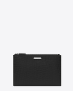 SAINT LAURENT ID SLG U ID Mini Tablet Holder in Black Crocodile Embossed Leather f