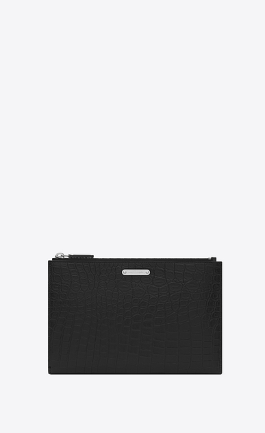 SAINT LAURENT ID SLG U ID Mini Tablet Holder in Black Crocodile Embossed Leather a_V4