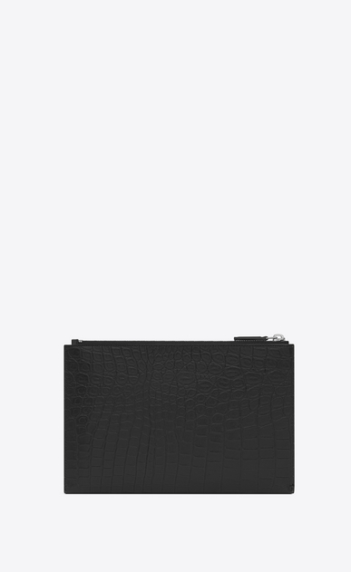 SAINT LAURENT ID SLG U ID Mini Tablet Holder in Black Crocodile Embossed Leather b_V4
