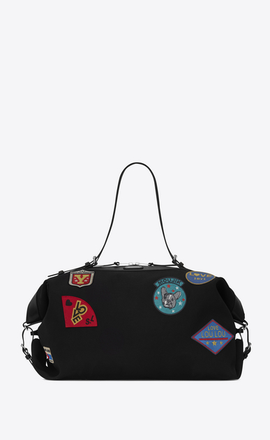 SAINT LAURENT ID bags U Large ID Convertible Bag in Black canvas and Multicolor Patches a_V4