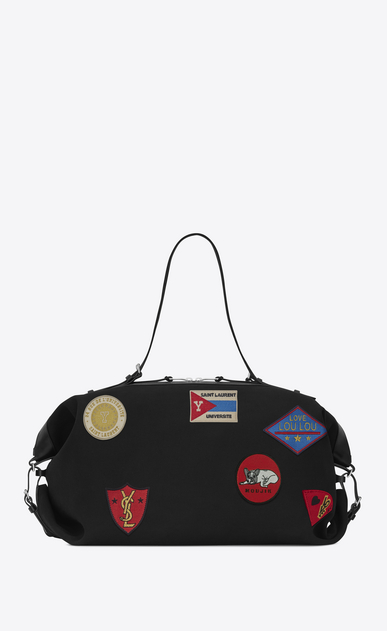 SAINT LAURENT ID bags U Large ID Convertible Bag in Black canvas and Multicolor Patches b_V4