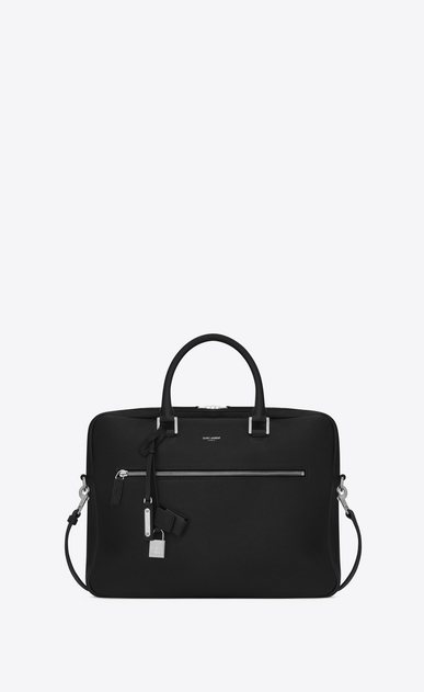 SAINT LAURENT Business U Porte-documents SAC DE JOUR SOUPLE en cuir grainé noir a_V4