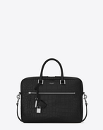 SAINT LAURENT Business U SAC DE JOUR SOUPLE Briefcase in Black Crocodile Embossed Leather f