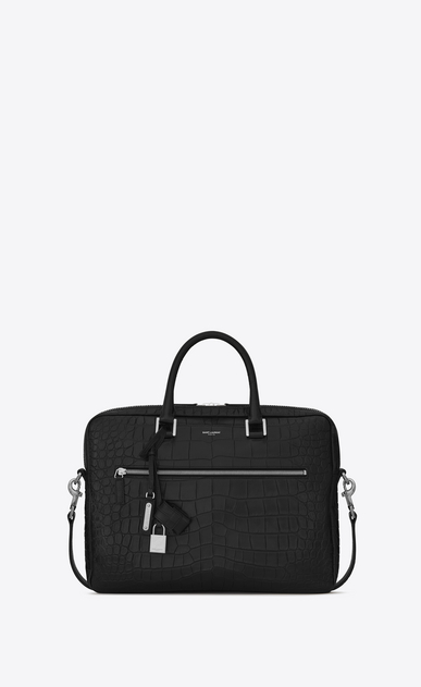 SAINT LAURENT Business U Porte-documents SAC DE JOUR SOUPLE en cuir embossé façon crocodile noir a_V4