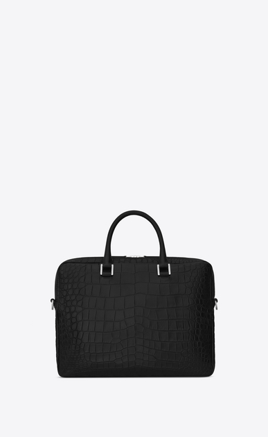 SAINT LAURENT Business U Porte-documents SAC DE JOUR SOUPLE en cuir embossé façon crocodile noir b_V4