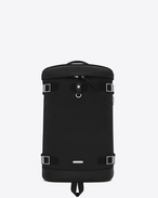 SAINT LAURENT Buckle Backpacks U RIVINGTON Race Backpack in Black nylon canvas and Leather f