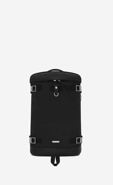 SAINT LAURENT Buckle Backpacks Man RIVINGTON Race Backpack in Black nylon canvas and Leather a_V4