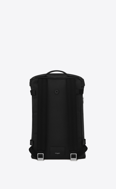 SAINT LAURENT Buckle Backpacks Man RIVINGTON Race Backpack in Black nylon canvas and Leather b_V4