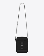 SAINT LAURENT Messenger And Crossbody U RIVINGTON Pouch in Black nylon canvas and Black Leather f
