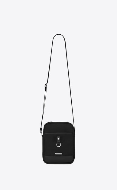 SAINT LAURENT Messenger And Crossbody U RIVINGTON Pouch in Black nylon canvas and Black Leather a_V4