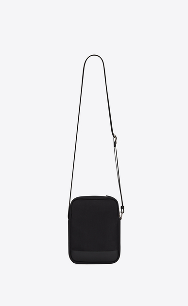 SAINT LAURENT Messenger And Crossbody Man RIVINGTON Pouch in Black nylon canvas and Black Leather b_V4