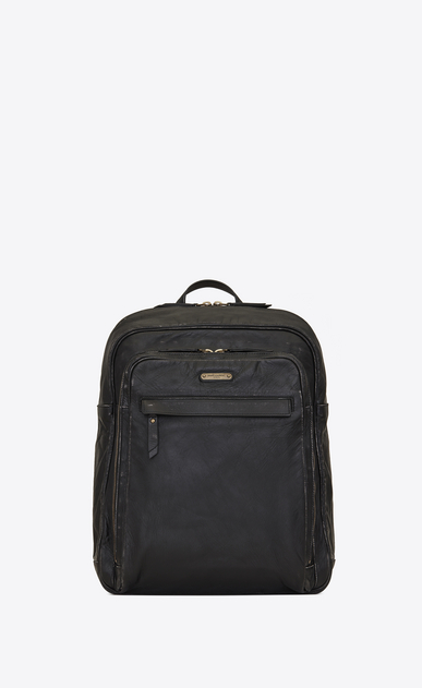 SAINT LAURENT Backpack Man BIKER Backpack in Black Worn Leather a_V4