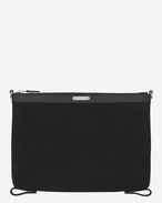 SAINT LAURENT ID SLG U Bag ID convertibile in beauty-case twill e pelle nera f