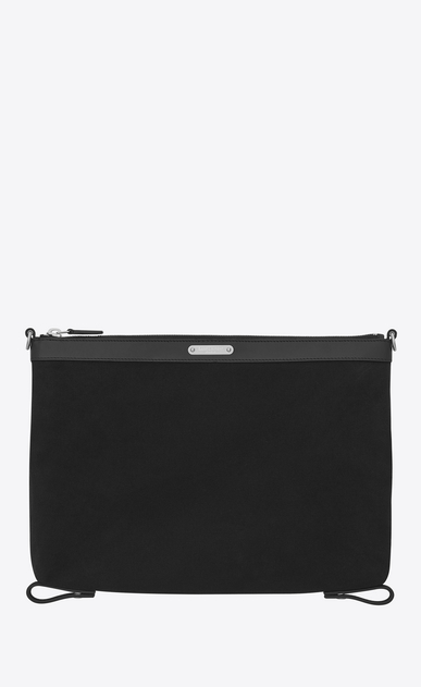 SAINT LAURENT ID SLG Man ID Convertible Toiletry Bag in Black Twill and Leather a_V4