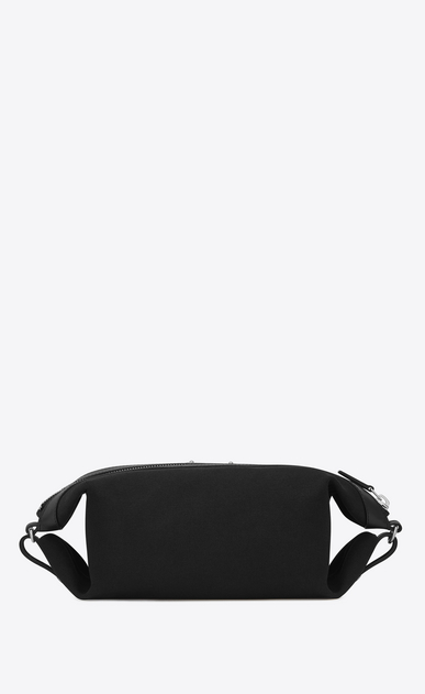 SAINT LAURENT ID SLG U Bag ID convertibile in beauty-case twill e pelle nera b_V4