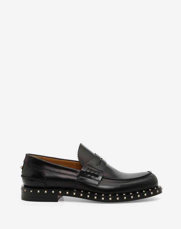 BRUSH-OFF CALFSKIN SOUL ROCKSTUD MOCCASIN