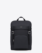 SAINT LAURENT Buckle Backpacks U hunting rucksack in black canvas and leather f