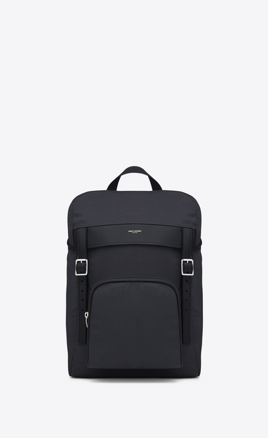 SAINT LAURENT Buckle Backpacks Man hunting rucksack in navy blue canvas and black leather a_V4