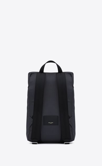 SAINT LAURENT Buckle Backpacks Man hunting rucksack in navy blue canvas and black leather b_V4