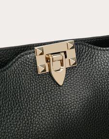 Small grain calfskin leather Rockstud hobo bag