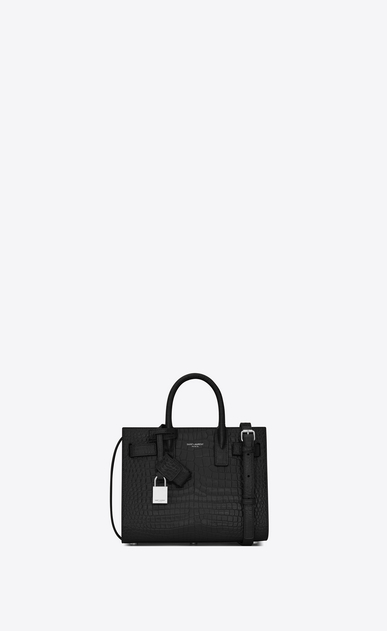 SAINT LAURENT Nano Sac de Jour Woman nano sac de jour bag in black crocodile embossed leather a_V4