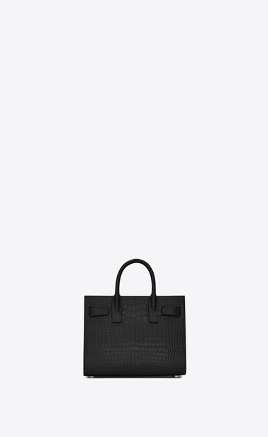SAINT LAURENT Nano Sac de Jour Woman nano sac de jour bag in black crocodile embossed leather b_V4