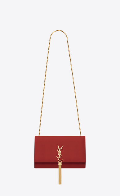 SAINT LAURENT MONOGRAM KATE WITH TASSEL D medium kate tassel chain bag in lipstick red leather a_V4